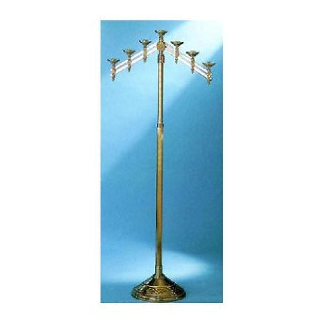 ラフ睡眠マイナーキャンバス教会床燭台with Adjustable Arms Metal Finish: 7-Lite, High Polish Bronze 24012-7-BZ