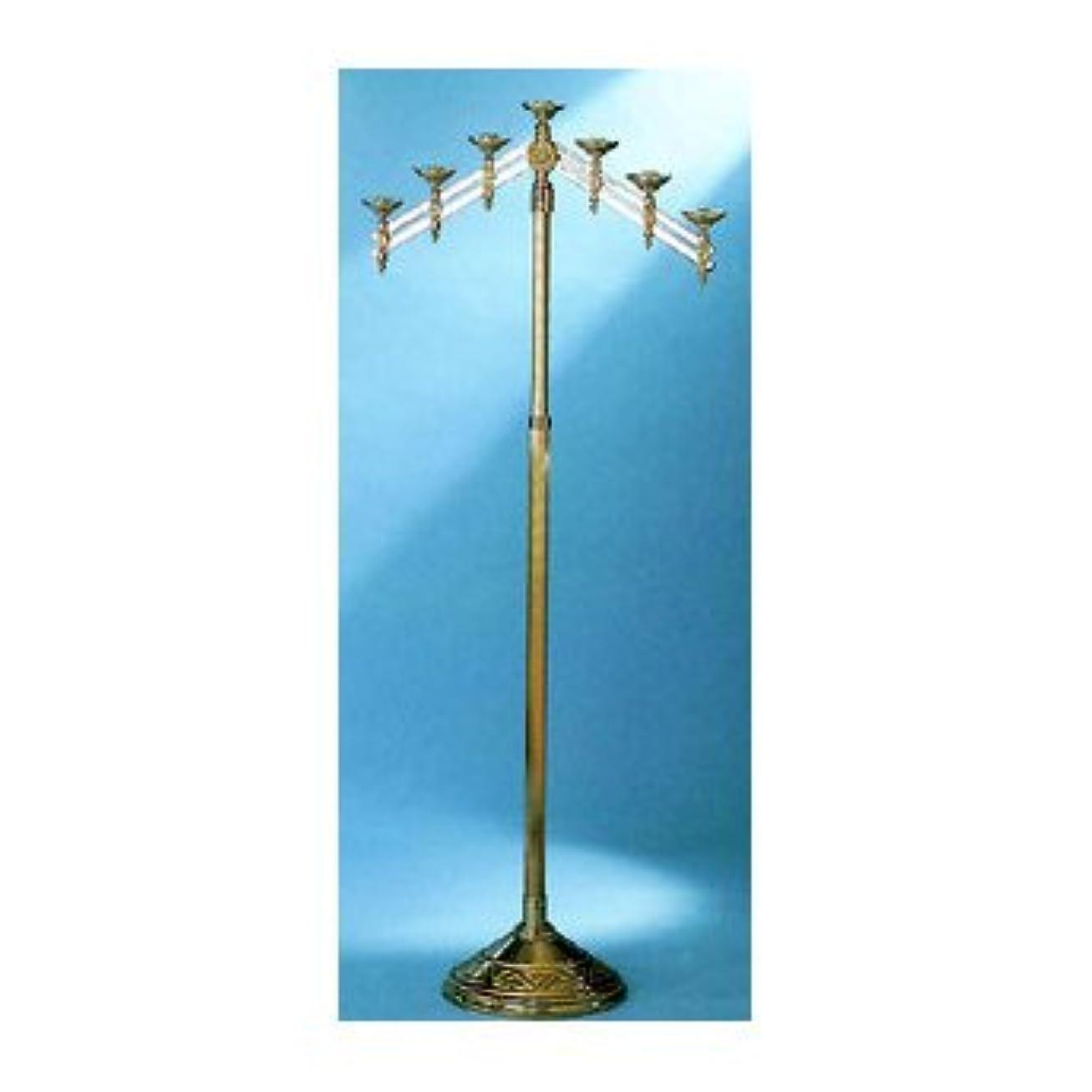 偽装するピース悲劇的な教会床燭台with Adjustable Arms Metal Finish: 7-Lite, High Polish Bronze 24012-7-BZ