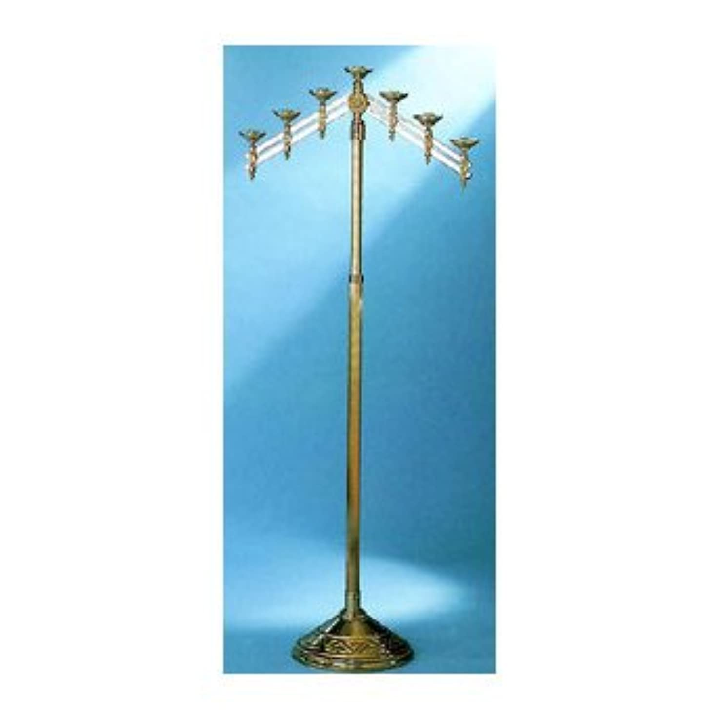 封建ベアリングサークルテザー教会床燭台with Adjustable Arms Metal Finish: 7-Lite, High Polish Bronze 24012-7-BZ