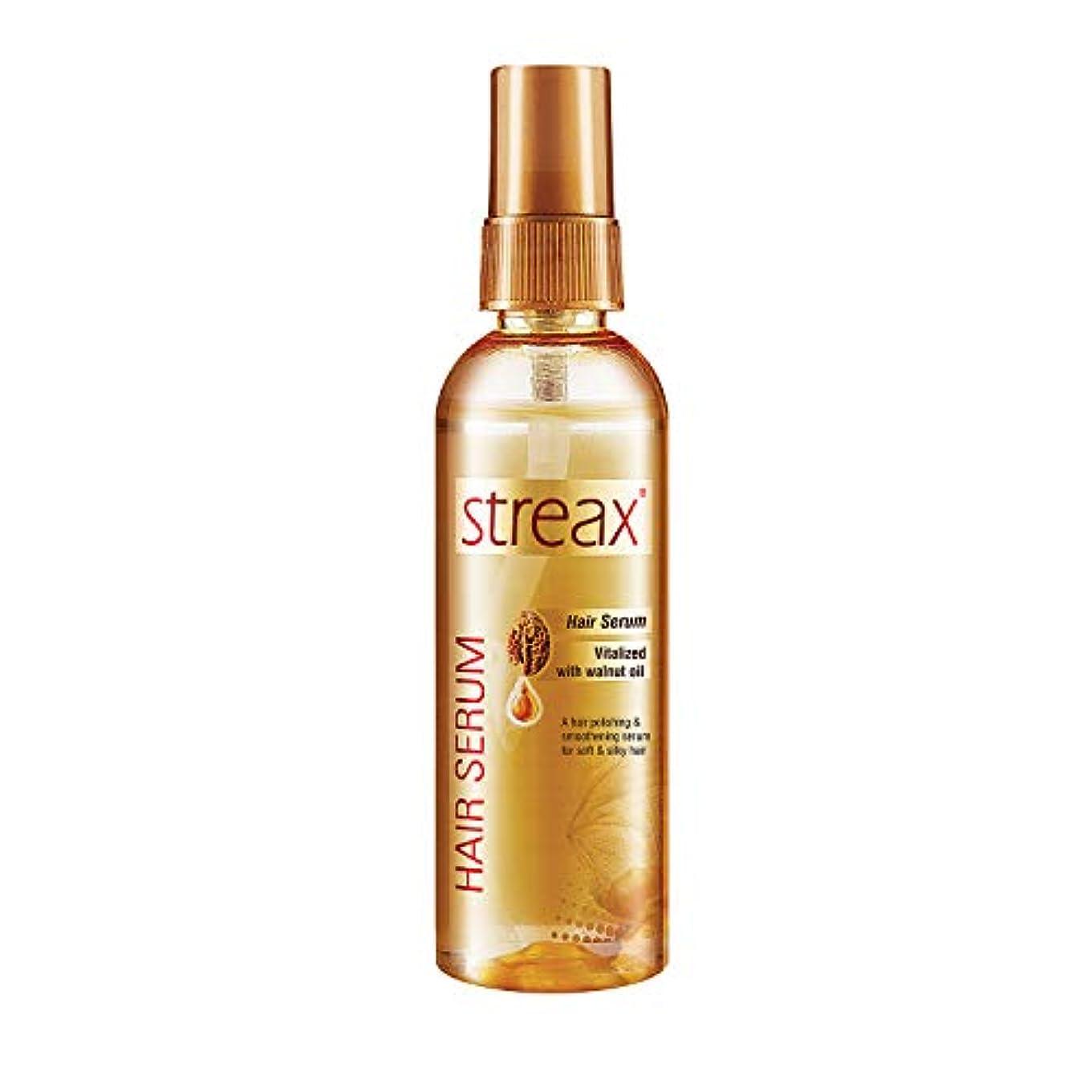 侵略側音声学クルミオイルで強化しStreax髪血清は縮れフリーサテンスムースヘア100ミリリットルを提供します( 3.5オンス)Streax Hair Serum Enriched with Walnut Oil Gives Frizz-free...
