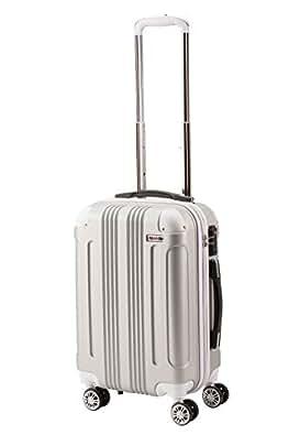 (ムーク)M∞K 超軽量スーツケース TSAロック付き 機内持ち込みSサイズ~Lサイズ (Mサイズ, シルバー)