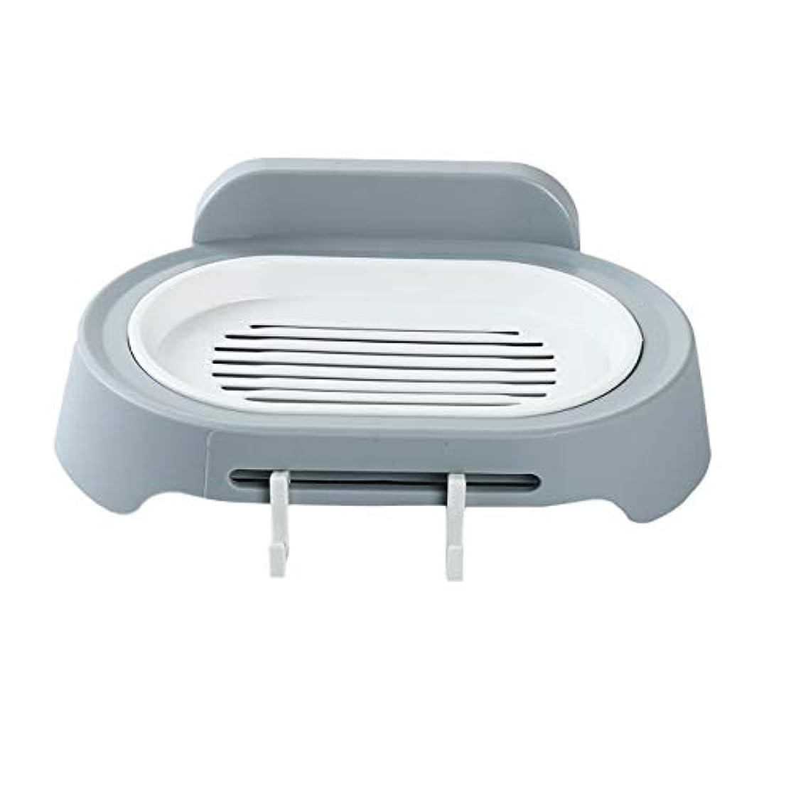 抑制平日愚かZALING 灰色のホックが付いているの浴室の石鹸の貯蔵の吸引の壁に取り付けられた石鹸のオルガナイザー