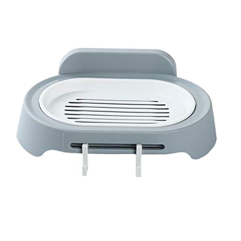 韓国語欠かせない逃げるZALING 灰色のホックが付いているの浴室の石鹸の貯蔵の吸引の壁に取り付けられた石鹸のオルガナイザー