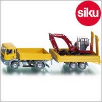 <ボーネルンド> Siku(ジク)社 輸入ミニカー 3920 MAN ローリーSHAEFF パワーショベル積載 1/55