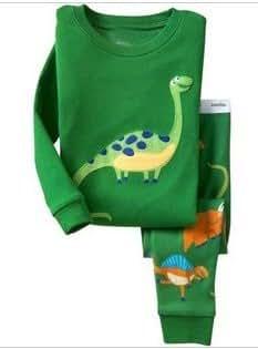 (スマートキッズ) SMARTKIDS綿100%男の子パジャマ上下セット 恐竜柄緑色 (95cm/3T)