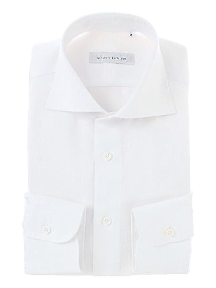 液体テキスト裂け目(ザ?スーツカンパニー) blazer's bank.com/ホリゾンタルカラードレスシャツ 織柄 ホワイト