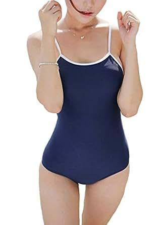 【dokidoki】 スクール水着 スク水【 定番の紺 】レオタード 体操服 コスプレ 透け感あり 薄い セクシー 競泳 エロい