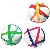 スーパーボール ストライプボール (32mm) 100個入  / お楽しみグッズ(紙風船)付きセット