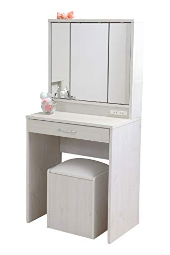 JKプラン 三面鏡 ドレッサー 幅60 隠し収納庫付 椅子 ...