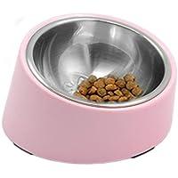 SuperDesign 犬・猫向けのステンレスチールボウル 給食器 傾斜がある 15度 食事中の体の負担をやわらげる メラミン製スタンド付き 滑り止め 取り外し可能 洗いやすい 食器洗濯機で洗える M ライトピンク