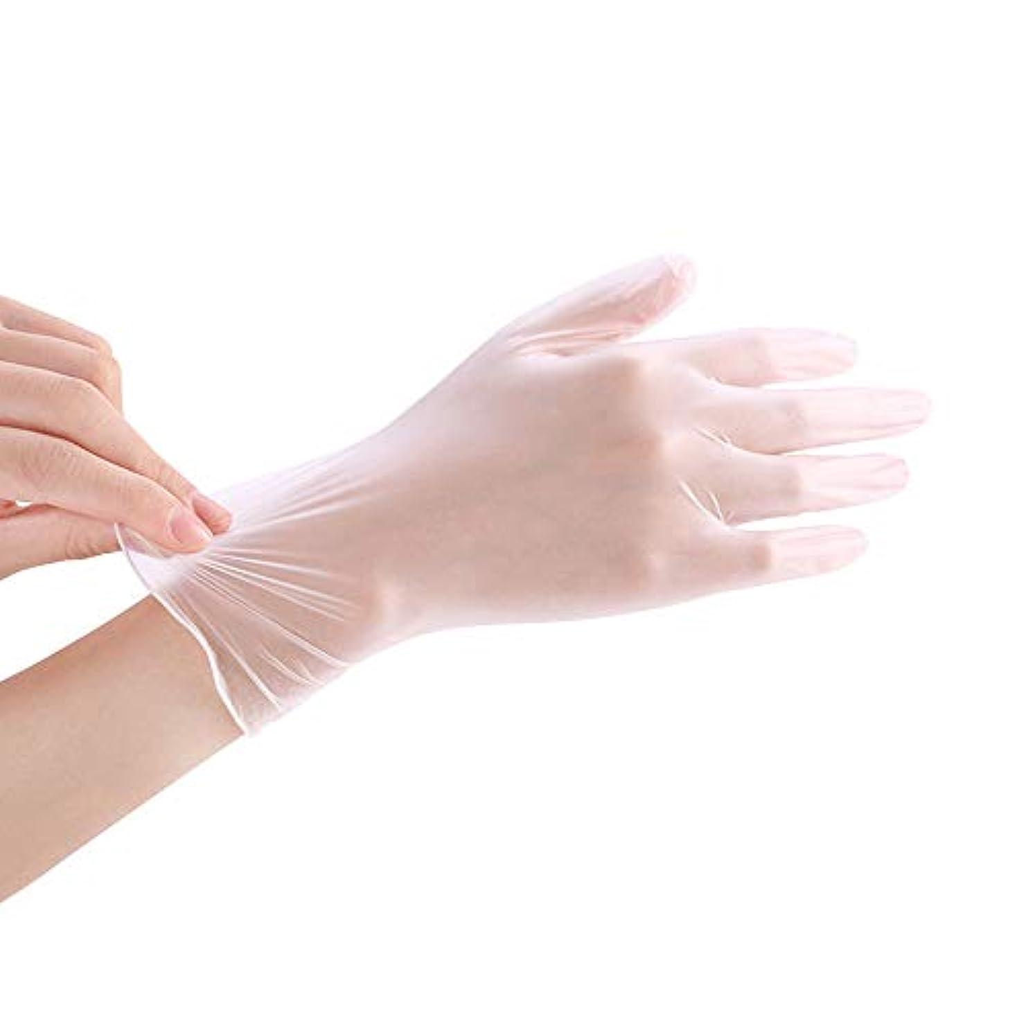 中止します谷ミネラルOrange Cat【100枚入り】 ビニール 使い捨て 手袋 極薄 透明 キッチン 美容 ベーキング 左右兼用 PVC製
