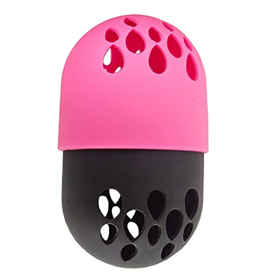 アレンジ言語発行美容スポンジ収納ケース、通気性を柔らか美容スポンジ シリコン旅行 キャリングケース、小型軽量 あらゆる化粧スポンジ適用 (ピンク)