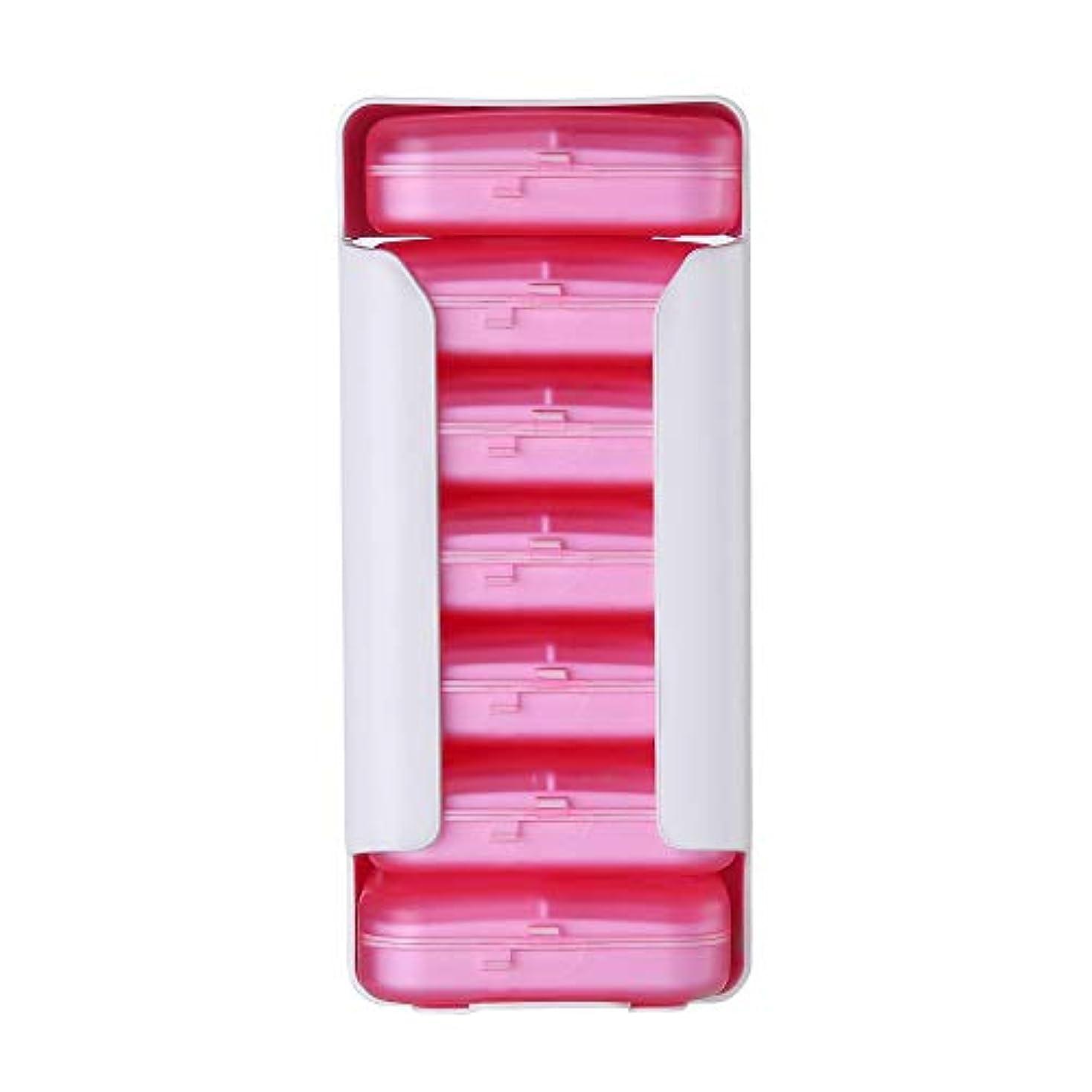 手のひら乗って機械的にピルボックス、薬オーガナイザー7日ディスペンサープラスチック容器リマインダーソーターボックスタイマーコンパートメントストレージ