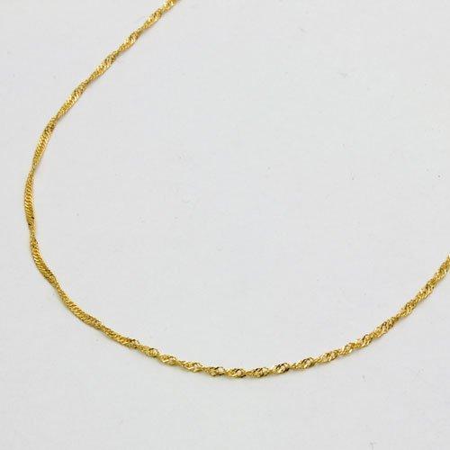 純金 K24 キラキラ スクリューネックレス 42cm 純金 1.4g