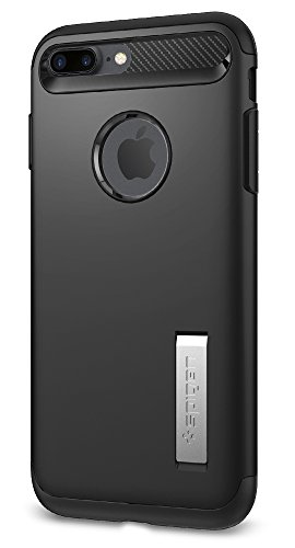 【Spigen】 iPhone 7 Plus ケース, スリム・アーマー [ 米軍MIL規格取得 衝撃吸収パターン加工 ] アイフォン 7 プラス 用 耐衝撃カバー (iPhone7 Plus, ブラック)
