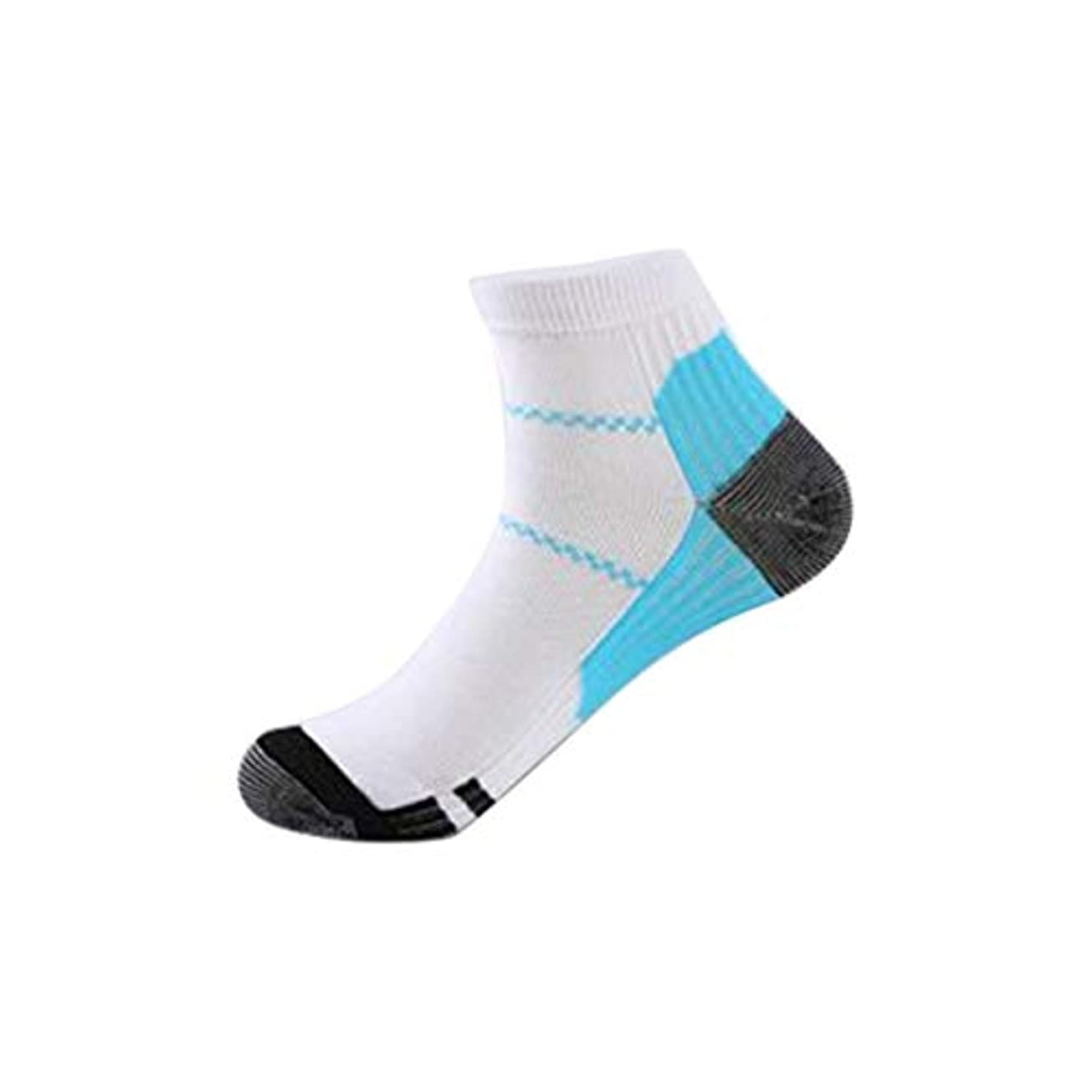 道路スポーツマンレーザ快適な男性女性ファッション短いストレッチ圧縮靴下膝ソックスサポートストレッチ通気性ソックス - ホワイト&ブルーS/M