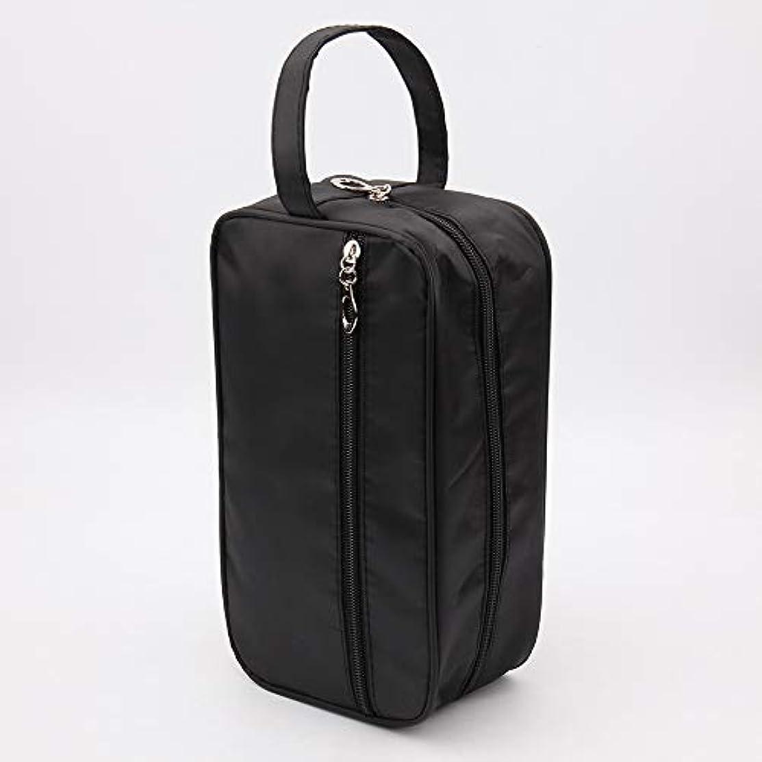 ステーキソフトウェアスイング新しい女性と男性大防水化粧バッグナイロン旅行化粧品バッグオーガナイザーケース必要なメイクアップ洗面化粧品バッグ (Color : Black)
