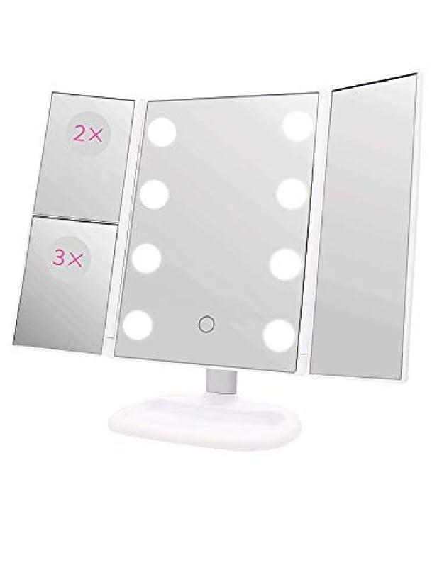 確かなトラクター花瓶S.Beauty 三面鏡 LEDライト付き2WAY卓上ミラー 軽量薄型モデル