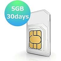【ローミングSIM】アメリカ・韓国・タイ・日本 その他7か国利用 30日データ容量5GB プリペイドSIM