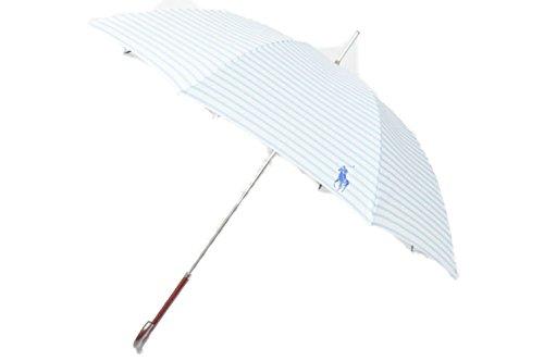 Ralph Lauren (ラルフローレン) ボーダー デザイン 雨傘 (長傘)/ ライトブルー×白