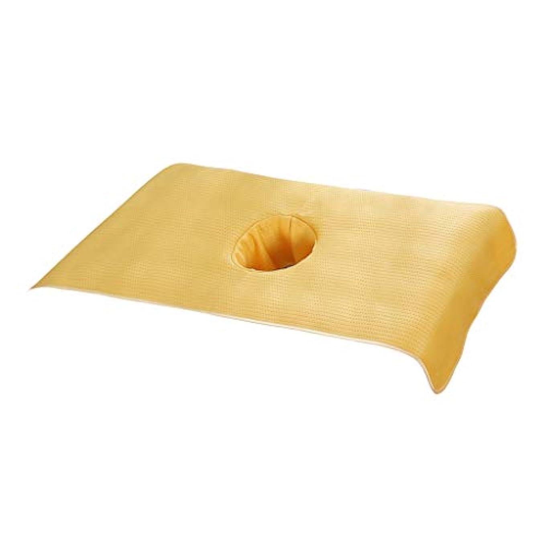 溶岩署名有効なマッサージベッドカバー 息の穴付き 美容ベッドカバー スパ マッサージテーブルスカート 35×90cm - 黄