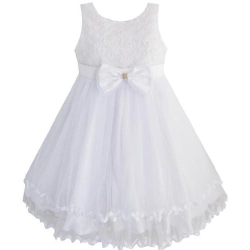 EE55 こどもドレス キッズドレス フラワードレス 結婚式 発表会 白 パール チュール 層 ガール 140cm
