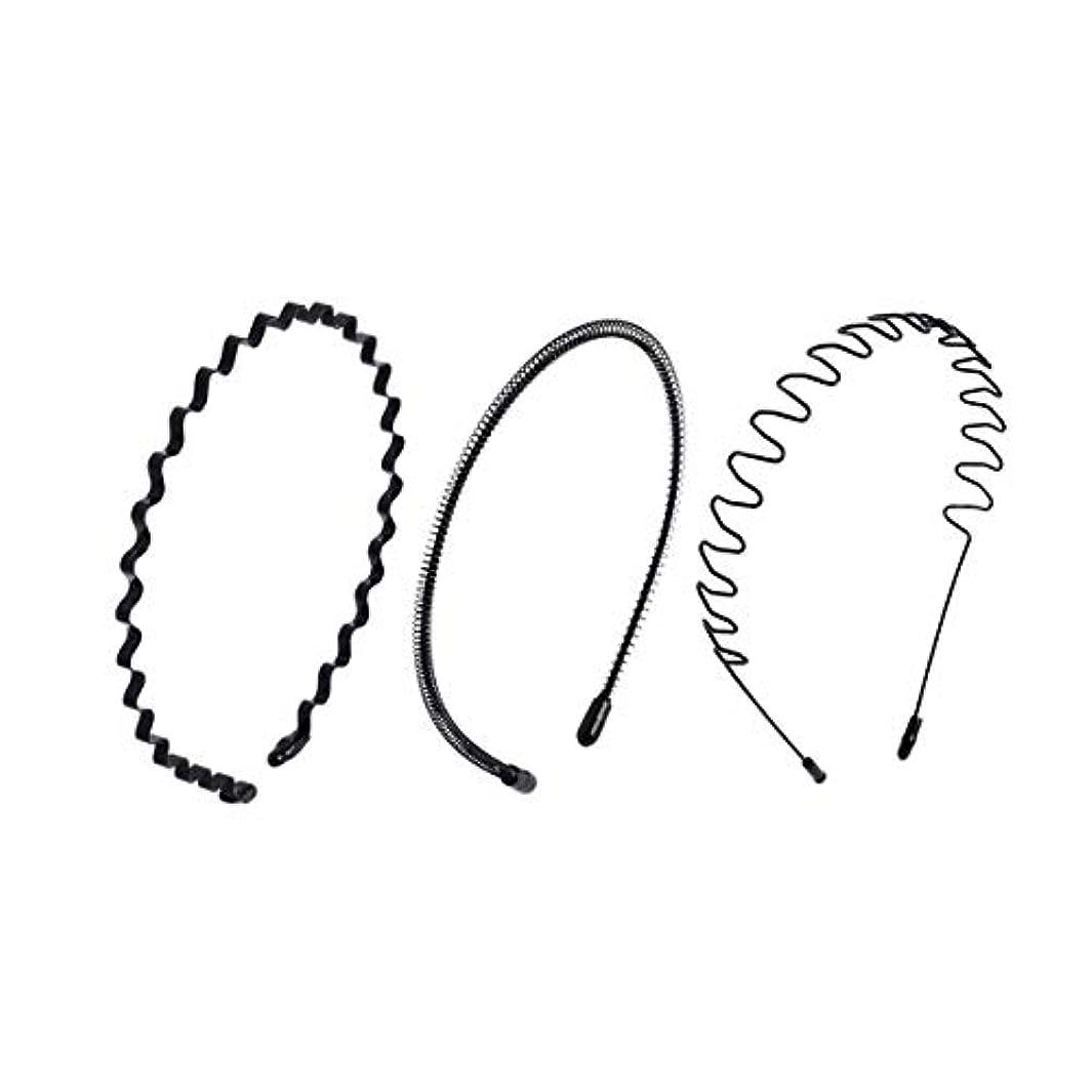 Chimera メンズ カチューシャ シンプル ウェーブ レディース人気 前髪 ヘアアレンジ 黒 スプリング ヘアバンド ファッション洗顔 スポーツヘアアクセサリー 3個セット