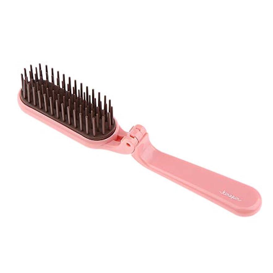 マーカー健康くすぐったいヘアコーム 折りたたみ ヘアブラシ 櫛 コーム ヘアスタイリング 静電気防止 2色選べ - ピンク