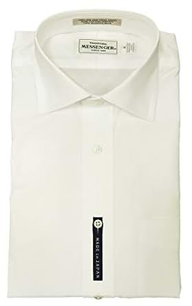 メッセンジャー(MESSENGER) レギュラーフィット ワイドカラーシャツ ブロード白無地 (102864-10/WID-004) (L/ネック41cm)