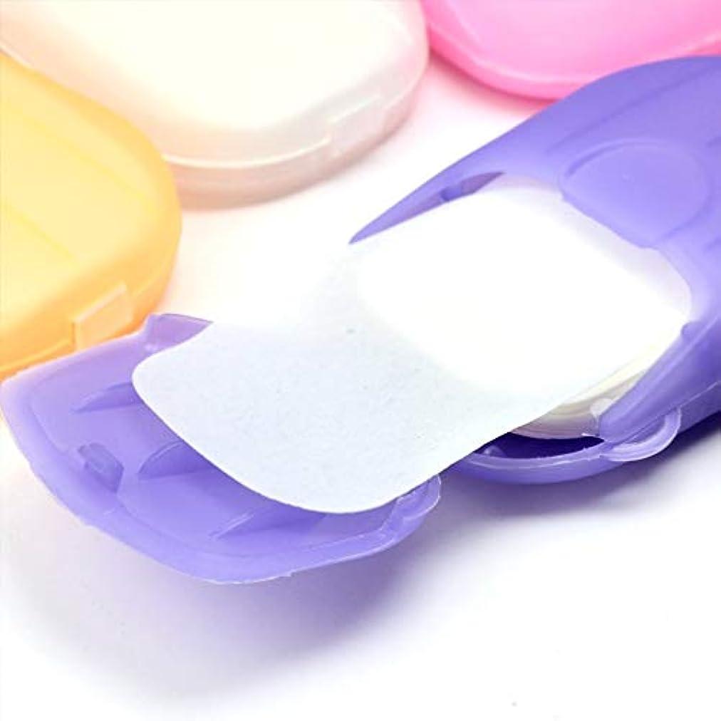 誰が快適透明に1PCS小型携帯手洗い石鹸フレークランダムカラー
