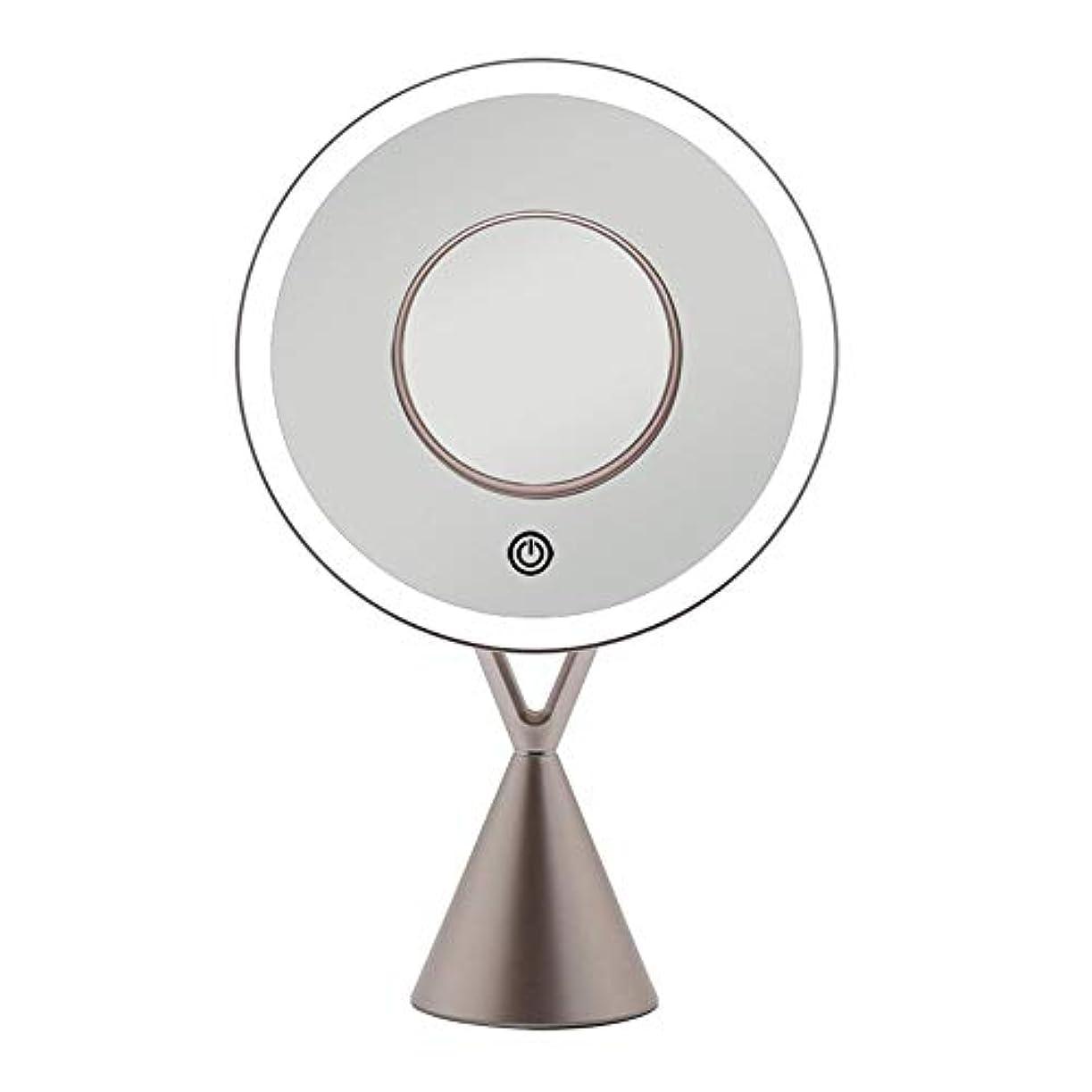 ハーフヘビ扱いやすい流行の LEDフィルライトデスクトップミラー5倍磁気吸引拡大鏡45度自由調整ローズゴールドギフト