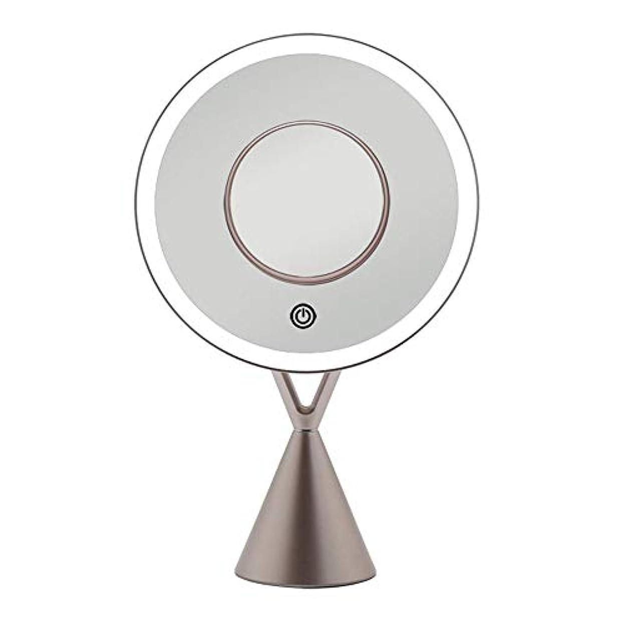 動機検出するアジア流行の LEDフィルライトデスクトップミラー5倍磁気吸引拡大鏡45度自由調整ローズゴールドギフト