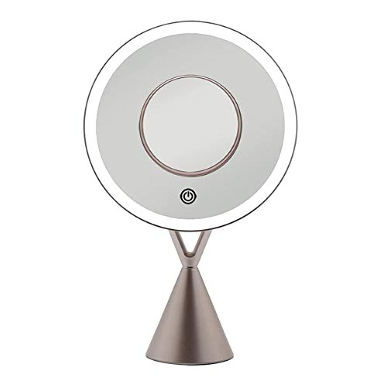 疎外するくるみ平衡流行の LEDフィルライトデスクトップミラー5倍磁気吸引拡大鏡45度自由調整ローズゴールドギフト