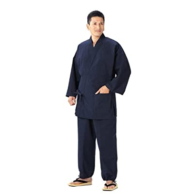 久留米紬織作務衣 日本製 飲食店のユニフォーム、御祝、内祝、父の日、敬老の日、還暦祝い、プレゼントにも (M, 紺)