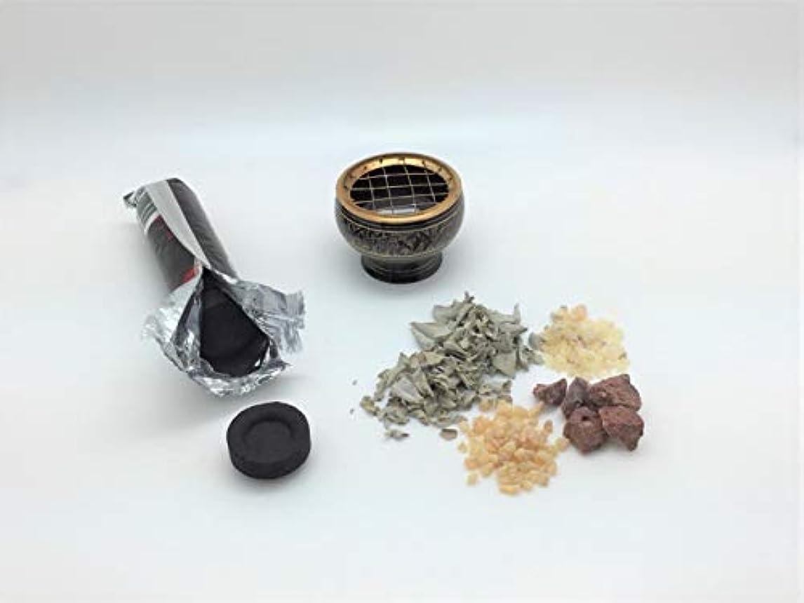 剥離何か家族香炉キット 真鍮製香炉/木炭/ホワイトセージリーフ/フランキンセンス/ドラゴンブラッド/コペル香料樹脂/白い砂が付属