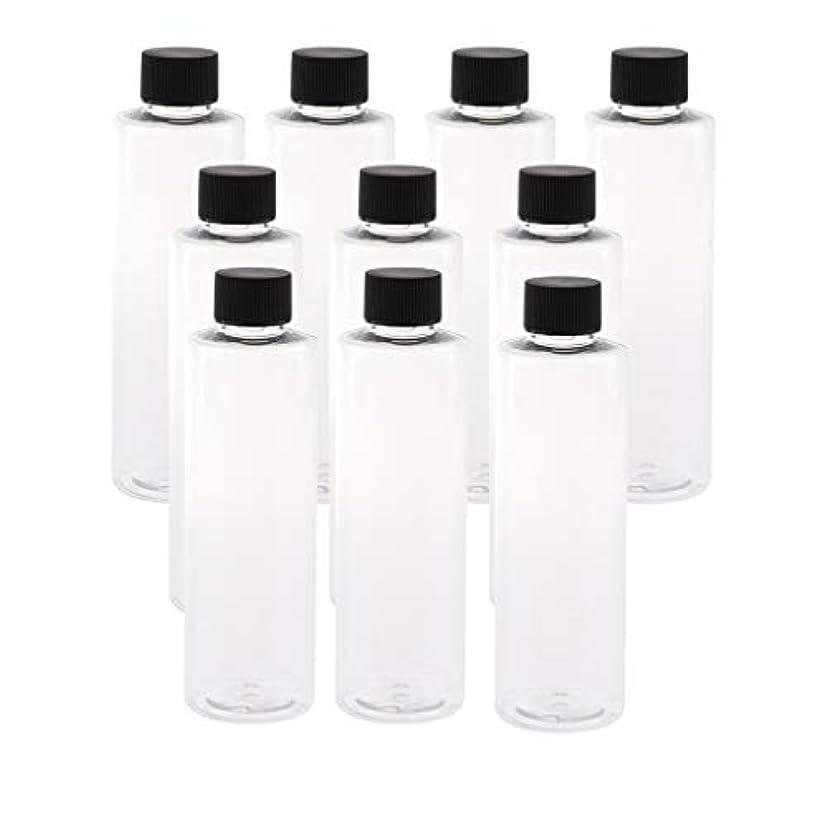 信念キラウエア山ぴったり200ml透明プラスチックジュースPET容器ボトル、カラースクリューエビデントキャップ付き(多様なカラーキャップ、10個) - ブラックキャップ