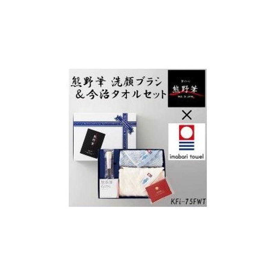 持つエミュレートする四分円熊野筆と今治タオルのコラボレーション 熊野筆 洗顔ブラシ&今治タオルセット KFi-75FWT