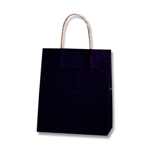 手提 紙袋 25CB 21-12 未晒 クラフト クロ 21x12x25cm 50枚