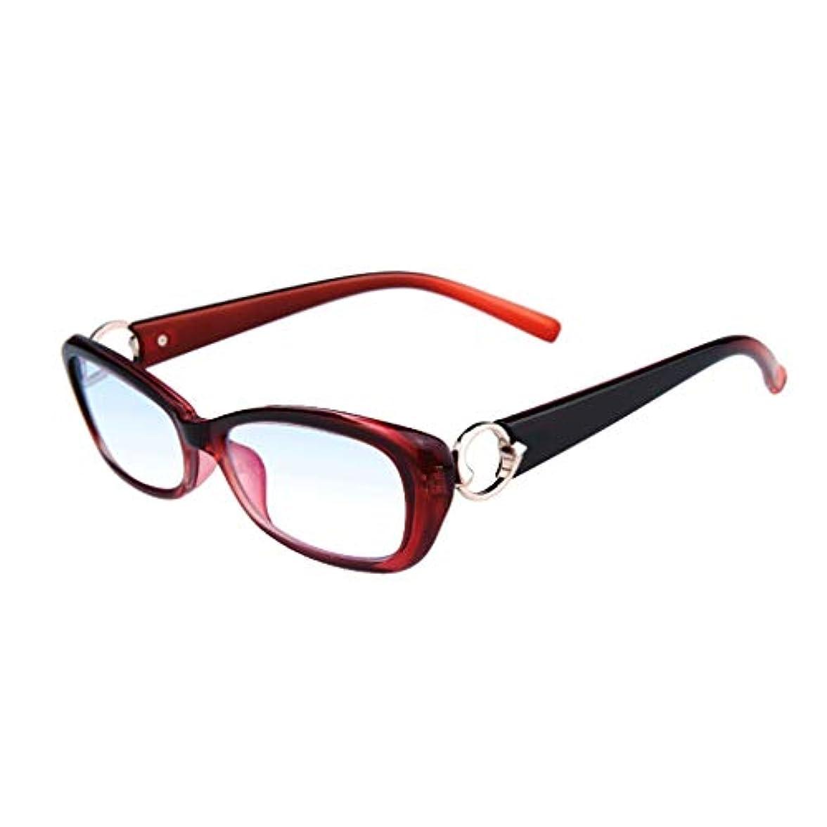 LCSHAN ファッション超軽量老眼鏡女性アンチブルーライトスマートマルチフォーカス遠近両用ズーム (Color : Red, Size : 150 degrees)