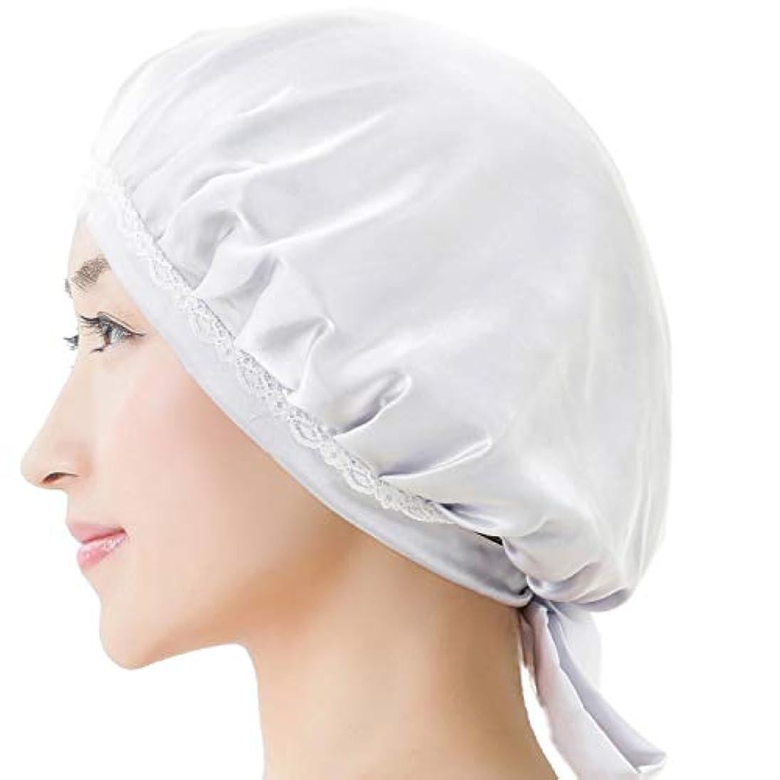 受粉者はい息子RUPORX シルク ナイトキャップ 天然シルク100% ロングヘア 通気性抜群 高品質 ヘアキャップ (シルバー)