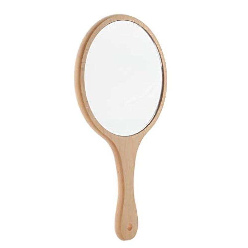 扇動保全援助Perfeclan 木製 ミラー コンパクト ハンドミラー メンズ 手鏡 化粧ミラー スキンケア デンタルケア 適用 全5選択 - ラウンドL