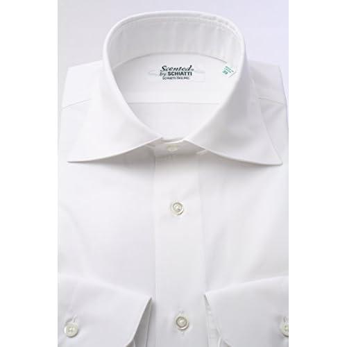 (スキャッティ) Scented 白のブロード ワイドカラー【特別価格】ドレスシャツwd2754f-L(41-85)