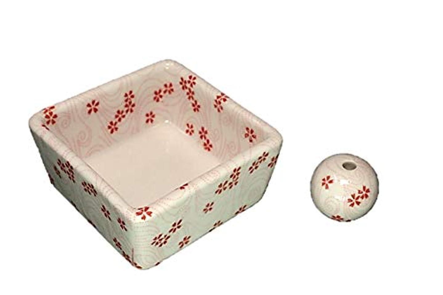 感度艦隊梨和モダン 桜渦 お香立て 陶器 角鉢 製造直売品