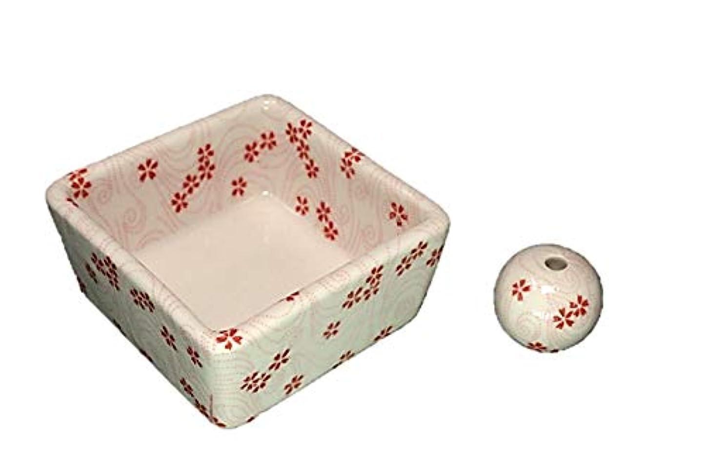 出力手足リングレット和モダン 桜渦 お香立て 陶器 角鉢 製造直売品