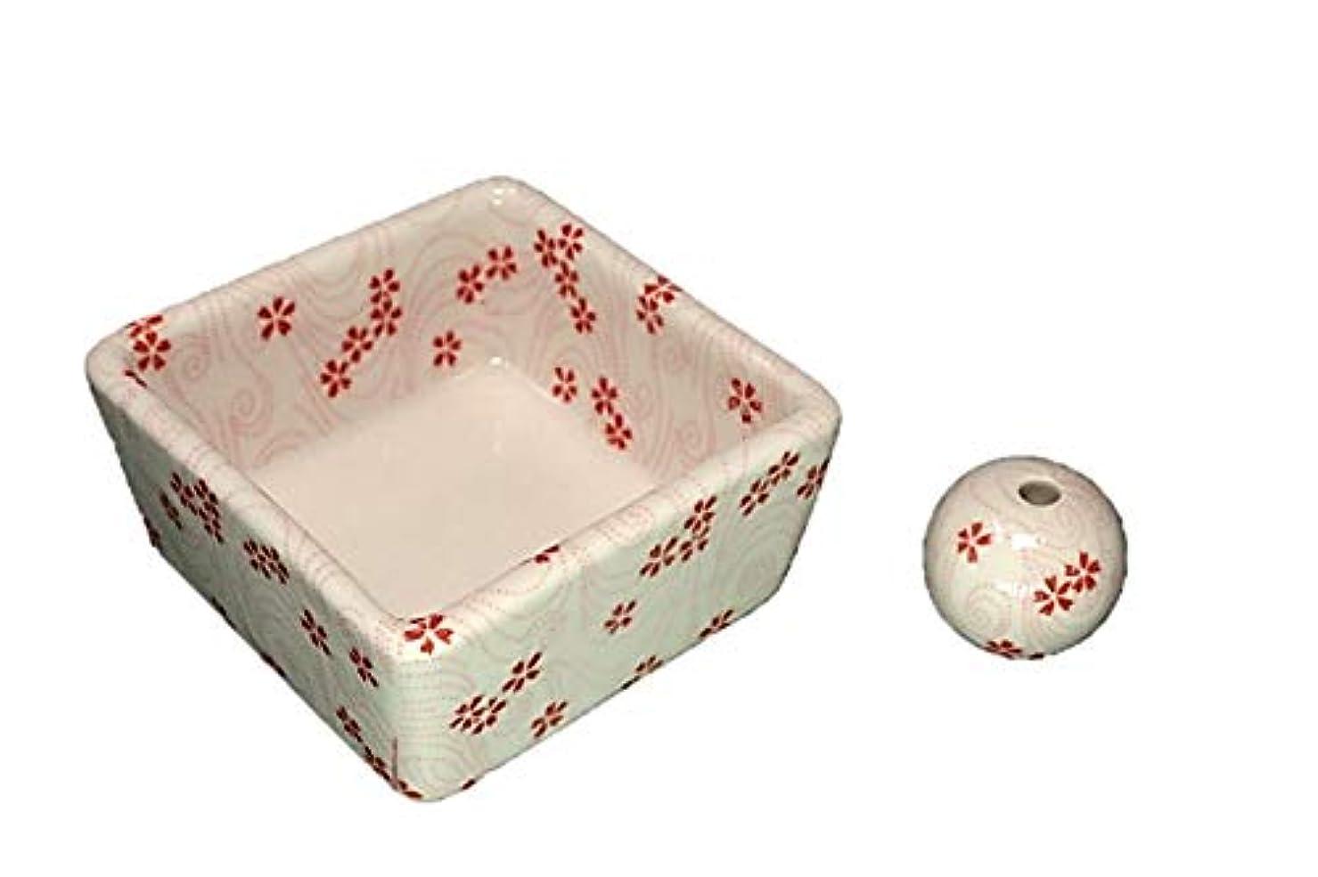 前提食品意味する和モダン 桜渦 お香立て 陶器 角鉢 製造直売品