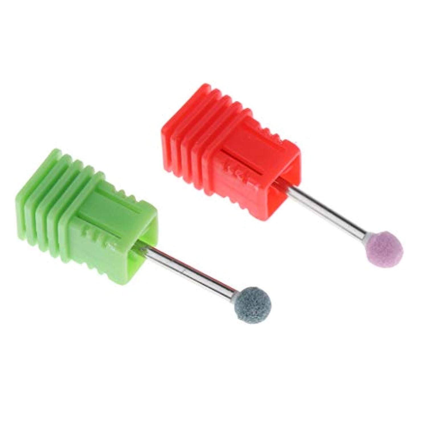芝生原子炉投票爪 磨き ヘッド 電動研磨ヘッド ネイル グラインド ヘッド アクリルネイル用ツール 2個 全6カラー - グリーン+ピンク