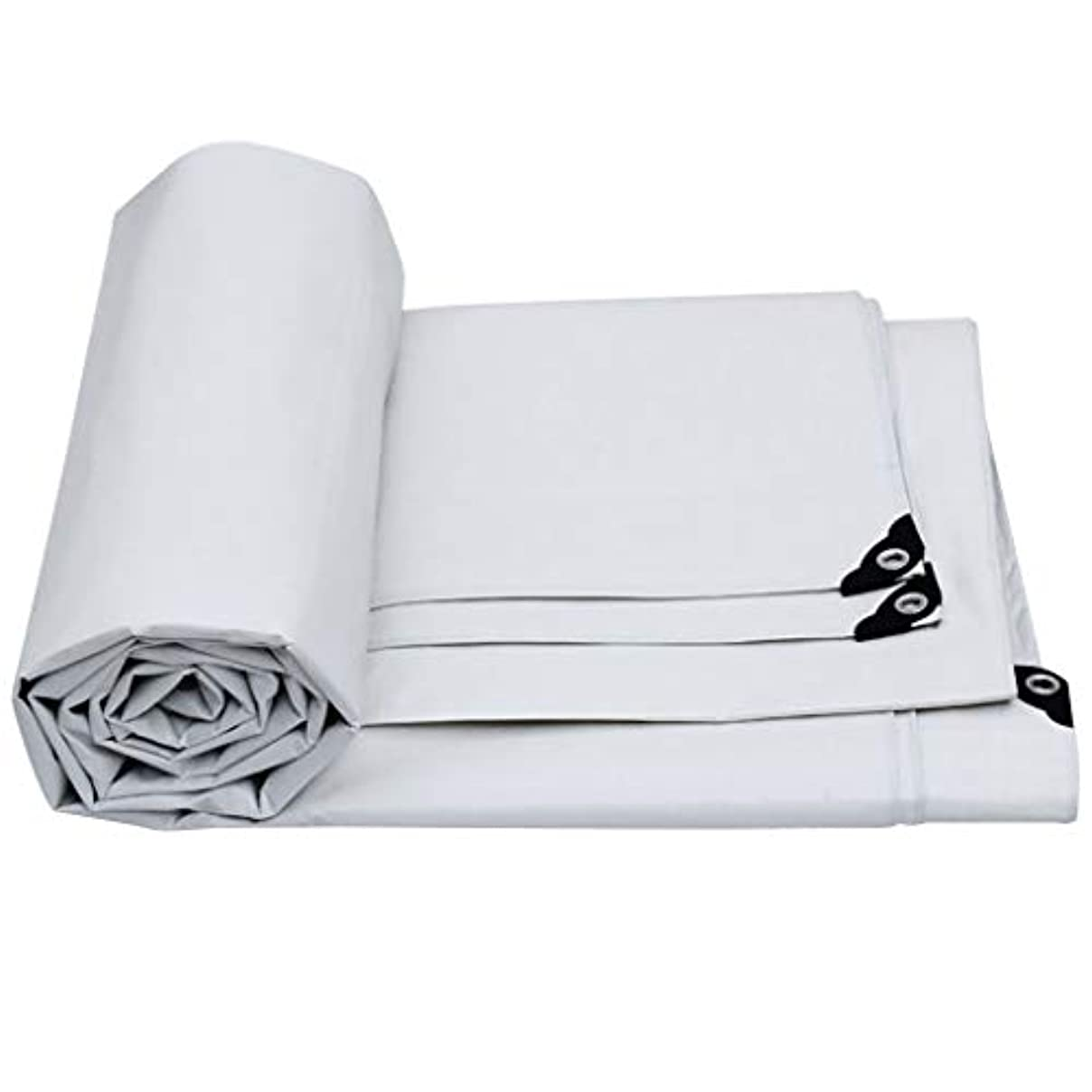 ロバ後継不適切なタープ 白い大きい防水シート/ポリ塩化ビニールの防水防水シートの継ぎ目が無いステッチの風邪の保護の絶縁材の陰の反酸化 テント (Color : White, Size : 8m × 10m)