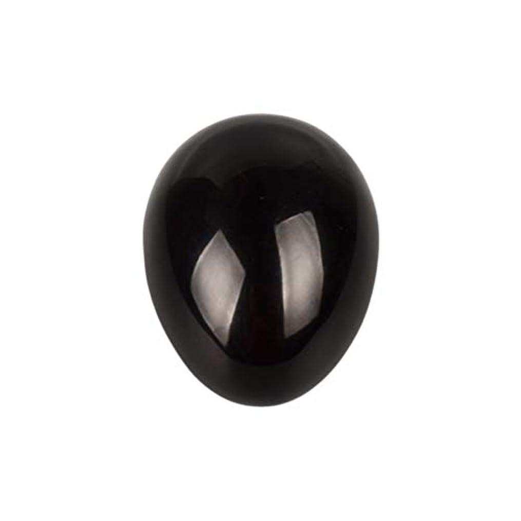ひねくれたトリプル頭痛Healifty 癒しの瞑想のための黒い黒曜石の宝石の卵球チャクラのバランスと家の装飾45 * 30 * 30ミリメートル