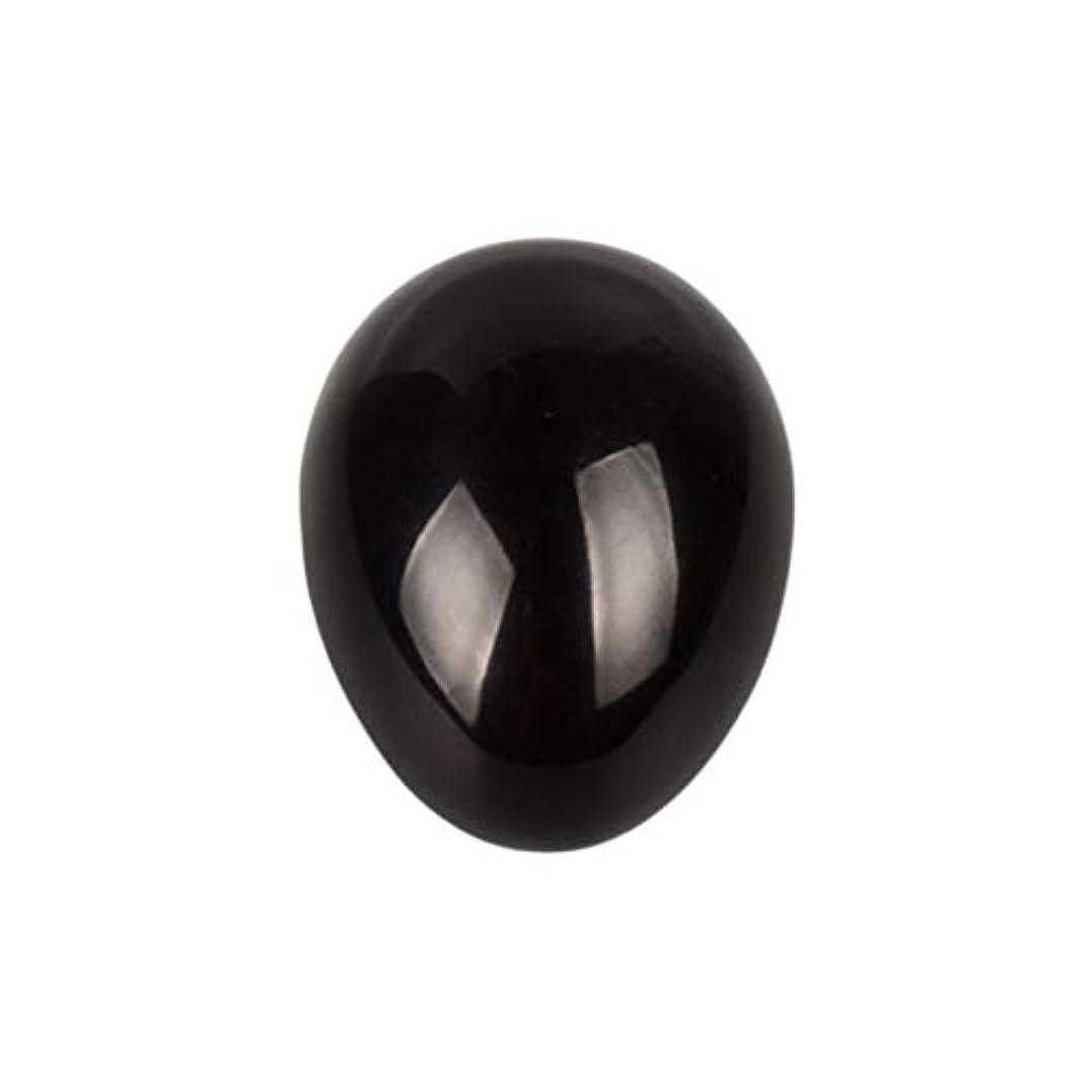 Healifty 癒しの瞑想のための黒い黒曜石の宝石の卵球チャクラのバランスと家の装飾45 * 30 * 30ミリメートル