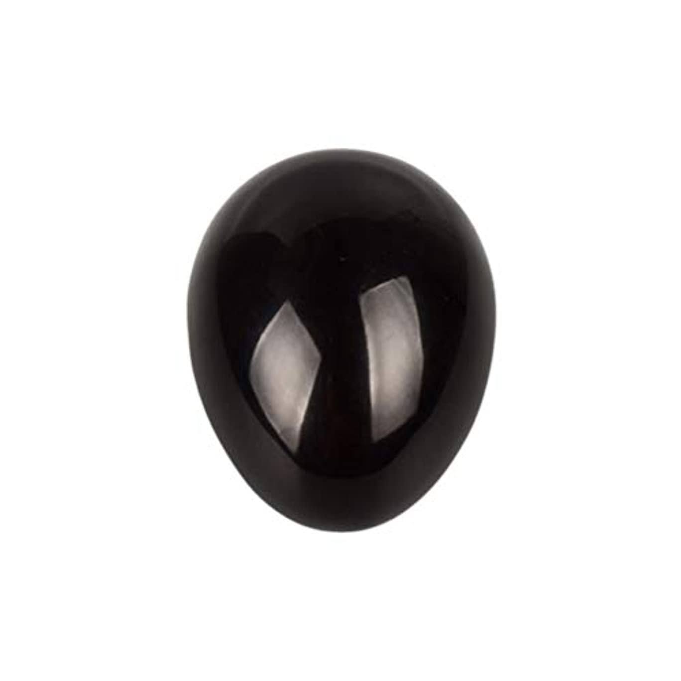 海里ブランデー快適SUPVOX 45×30×30ミリメートルのバランスをとる瞑想チャクラを癒すための黒曜石宝石用原石の卵球